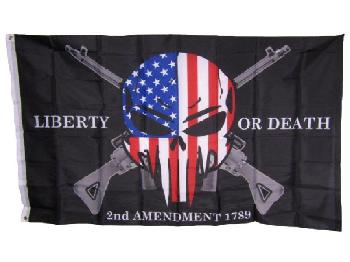 3'x5' Liberty or Death Flag [Red-White-Blue Skull]